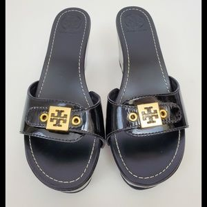 Tory Burch Rosie Black Patent Leather Mules 7.5